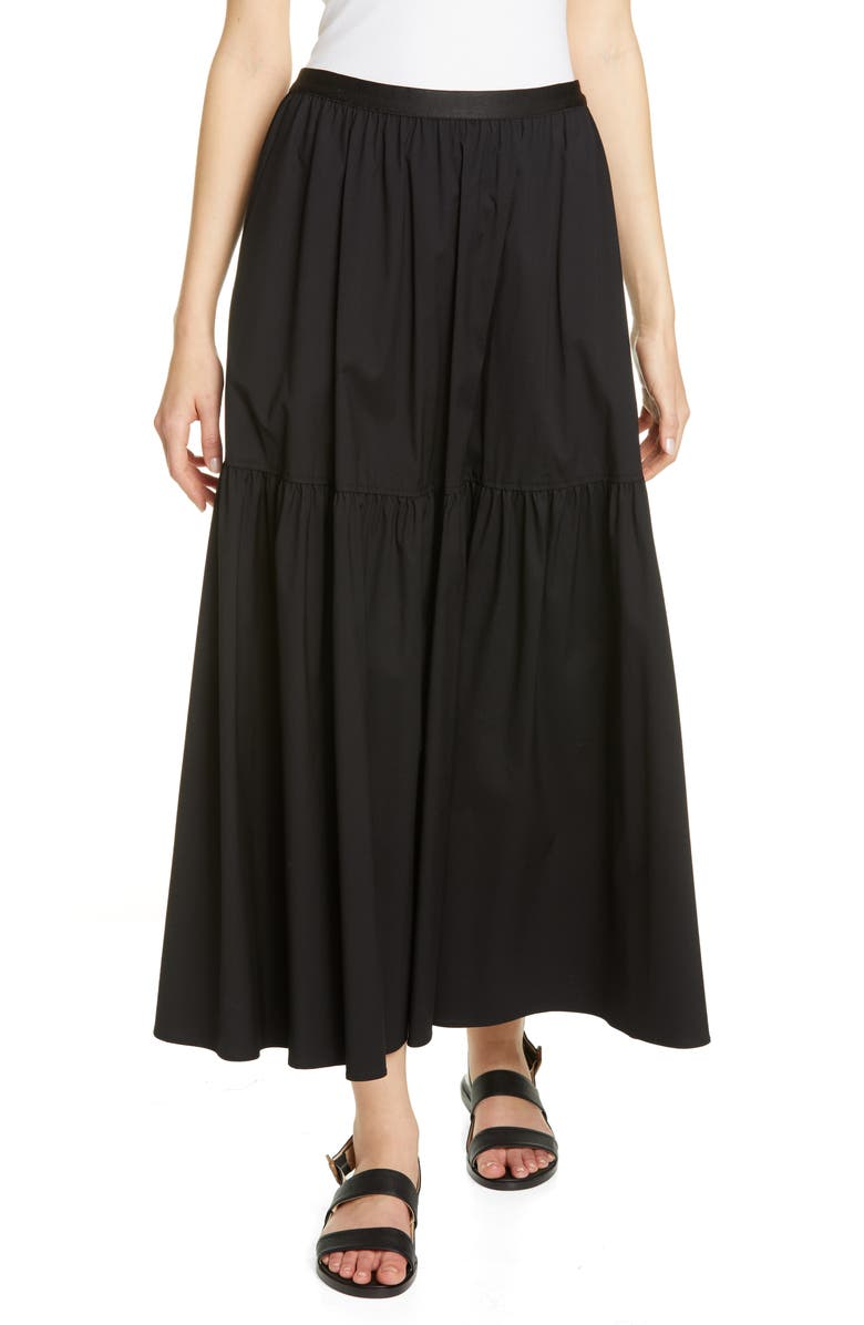 LAFAYETTE 148 NEW YORK Safford Tiered Maxi Skirt, Main, color, BLACK