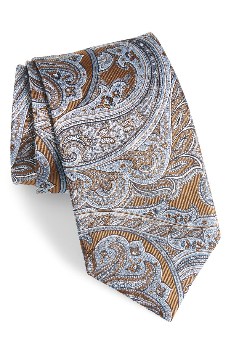 DAVID DONAHUE Paisley Silk Tie, Main, color, CHOCOLATE