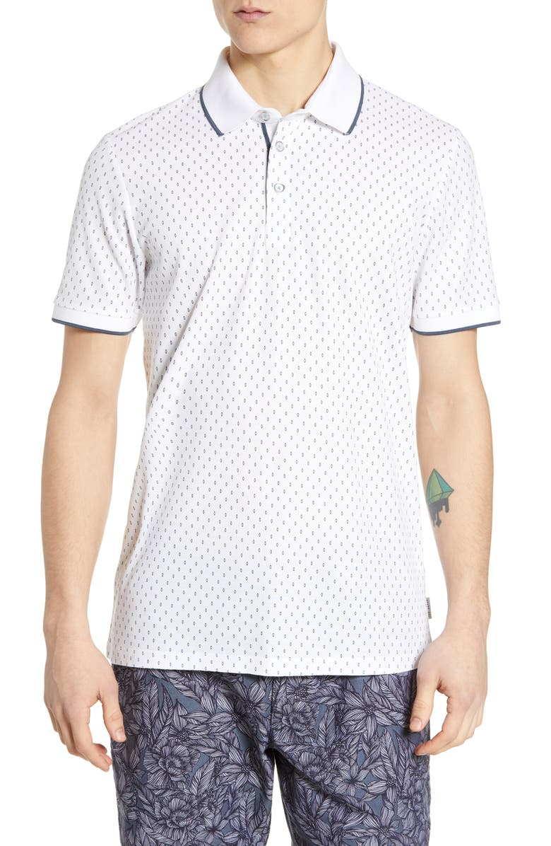 TED BAKER LONDON Toff Slim Fit Print Piqué Polo, Main, color, WHITE