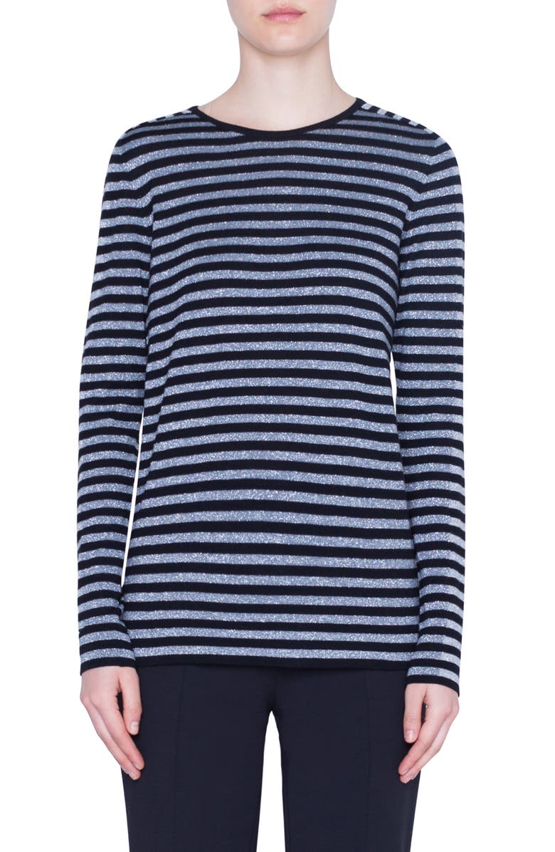AKRIS PUNTO Metallic Stripe Wool Blend Sweater, Main, color, BLACK/ GRAPHITE