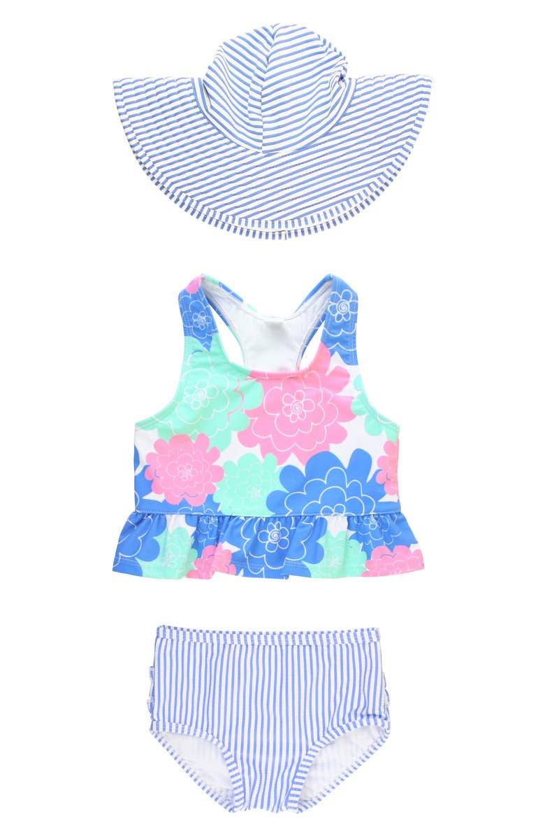 RUFFLEBUTTS Pastel Petals Two-Piece Swimsuit & Hat Set, Main, color, WHITE