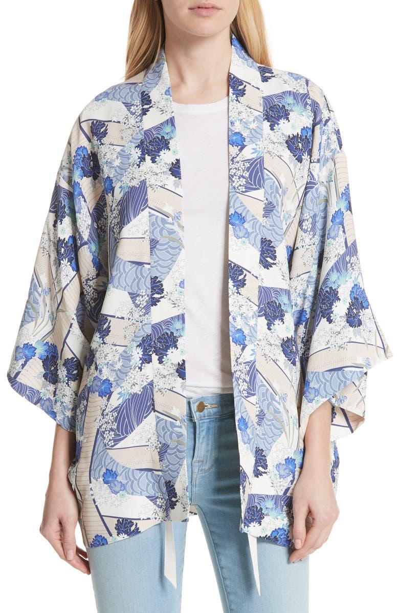 ELIZABETH AND JAMES Drew Floral Print Kimono Jacket, Main, color, 428