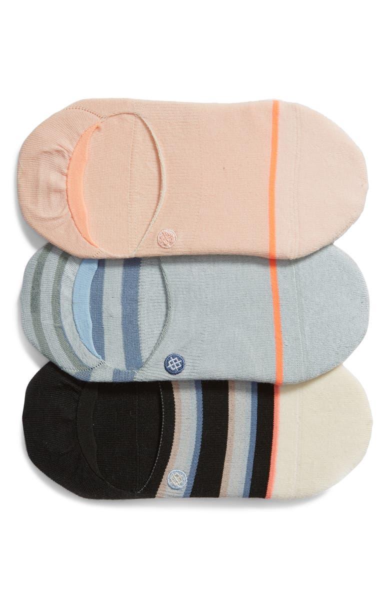 STANCE Back to Basic 3-Pack No-Show Socks, Main, color, BLACK MULTI