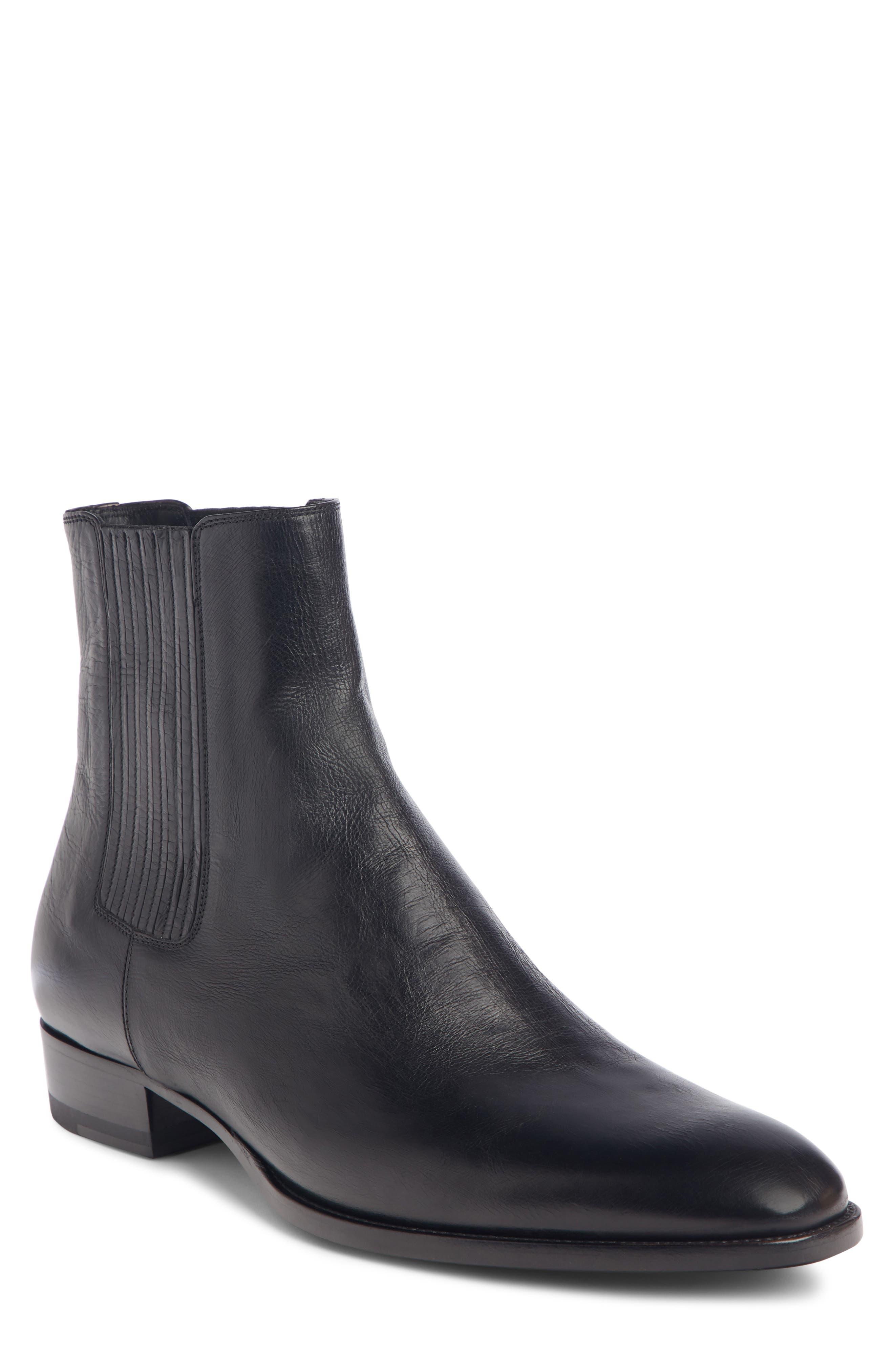 saint laurent wyatt leather chelsea boots