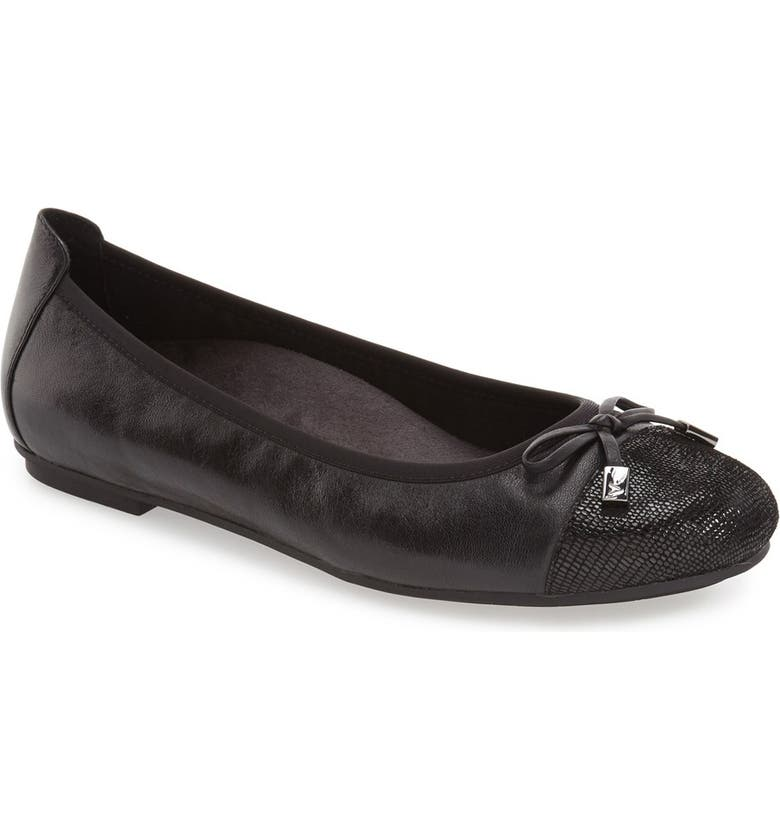 VIONIC 'Minna' Leather Flat, Main, color, BLACK LEATHER