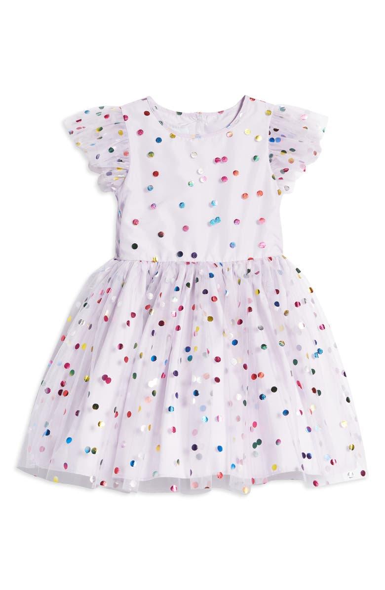 PIPPA & JULIE Kids' Foil Dot Mesh Party Dress, Main, color, LILAC