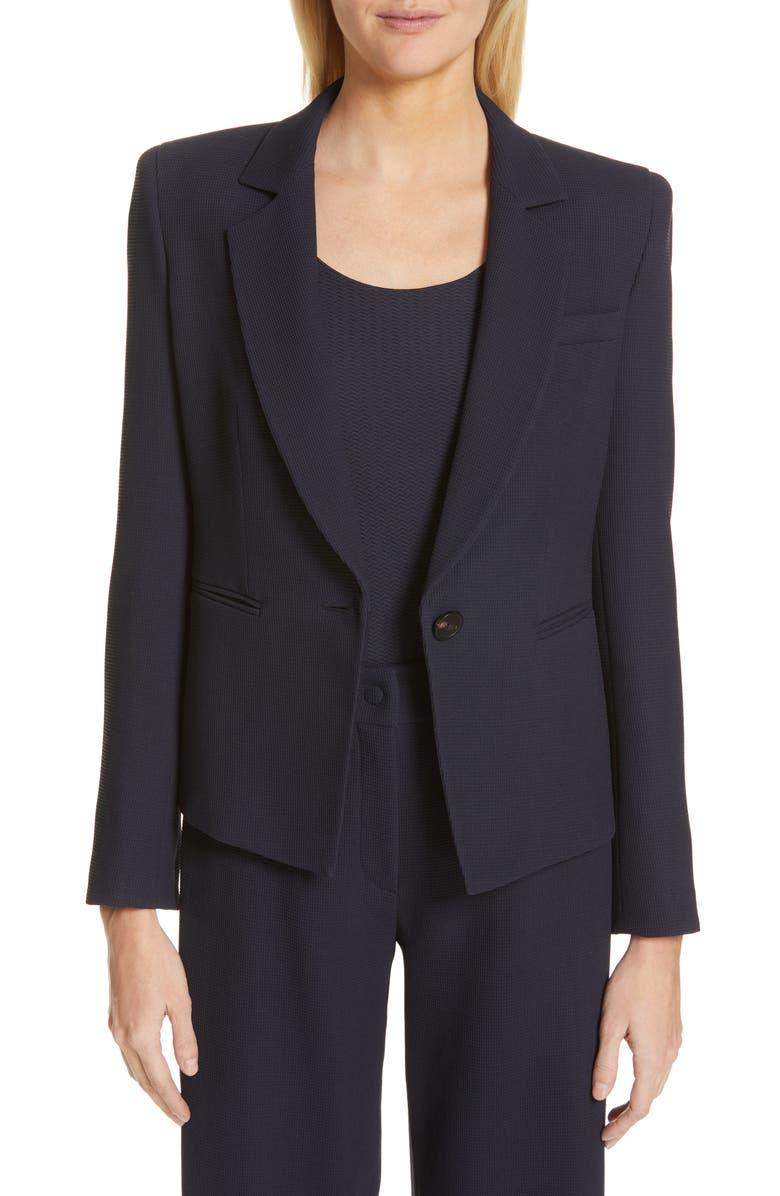 EMPORIO ARMANI Waffle Texture Wool Jacket, Main, color, BLUE ZEN