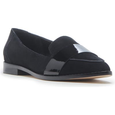 Sole Society Edie Pointy Toe Loafer, Black