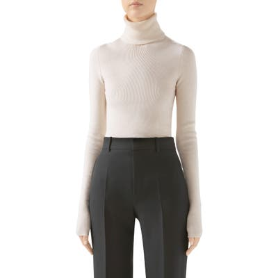 Gucci Ribbed Wool Blend Turtleneck Sweater, Ivory