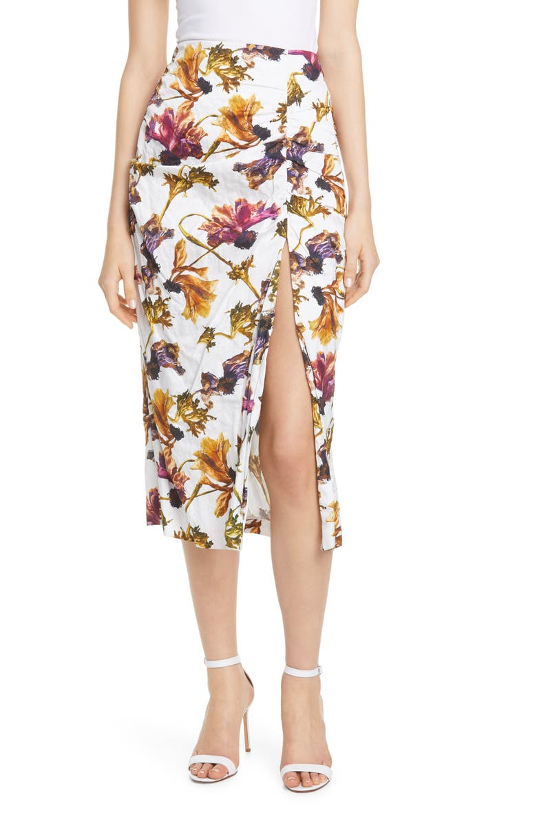 JASON WU COLLECTION Ruched Floral Print Washed Sateen Skirt, Main, color, CHALK MULTI
