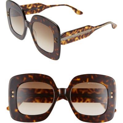 Bottega Veneta 50Mm Gradient Square Sunglasses - Dark Havana/ Brown