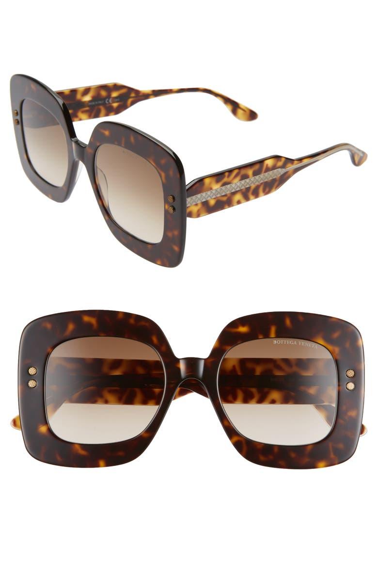 BOTTEGA VENETA 50mm Gradient Square Sunglasses, Main, color, DARK HAVANA/ BROWN