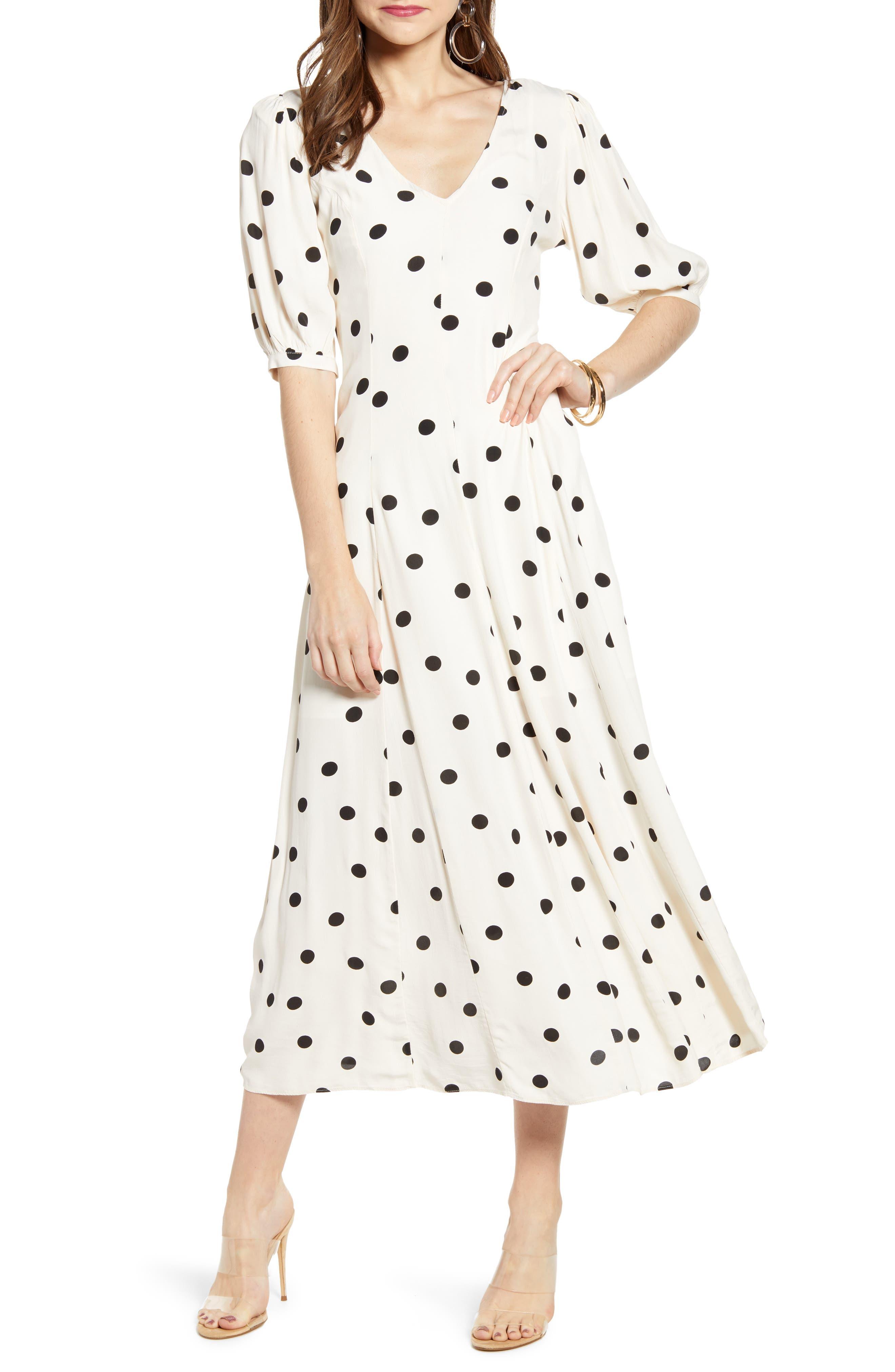 Print Dress, Main, color, BEIGE ECRU DOT
