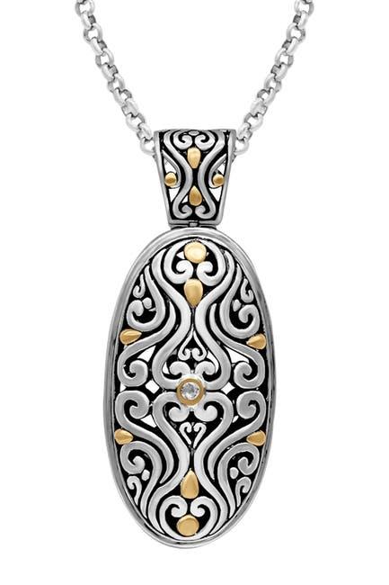 Image of DEVATA Sterling Silver & 18K Gold Oval Filigree Pendant Necklace