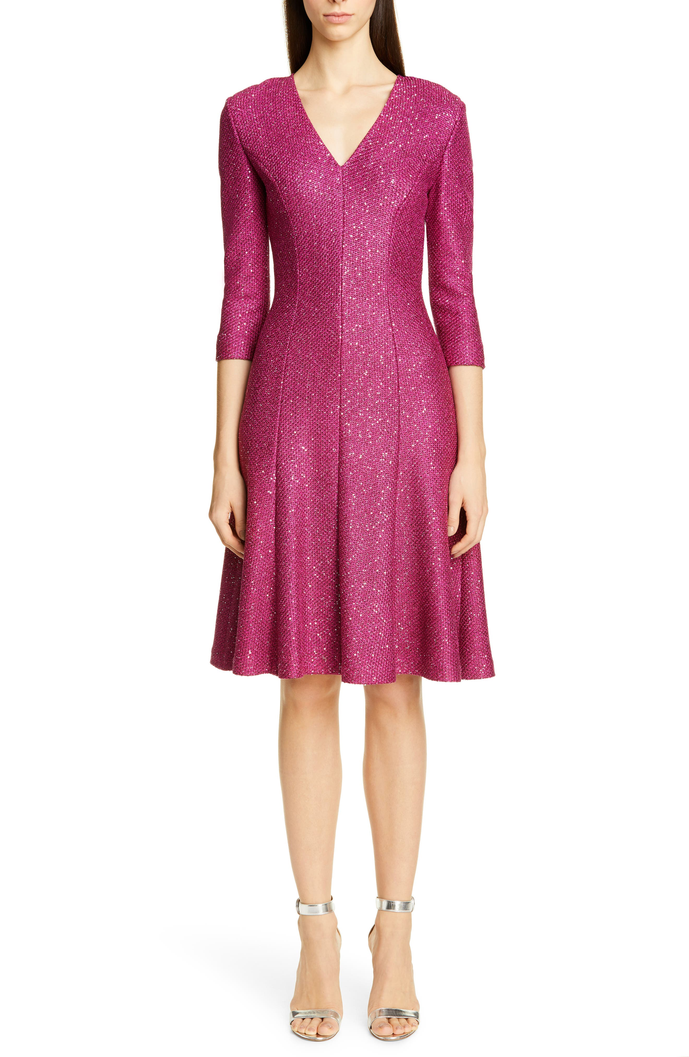 St. John Collection Luxe Sequin Tuck Knit Fit & Flare Dress, Pink