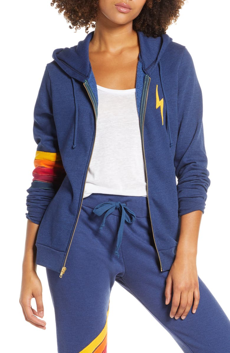 AVIATOR NATION Cross Stripe Zip Hoodie, Main, color, POSEIDON