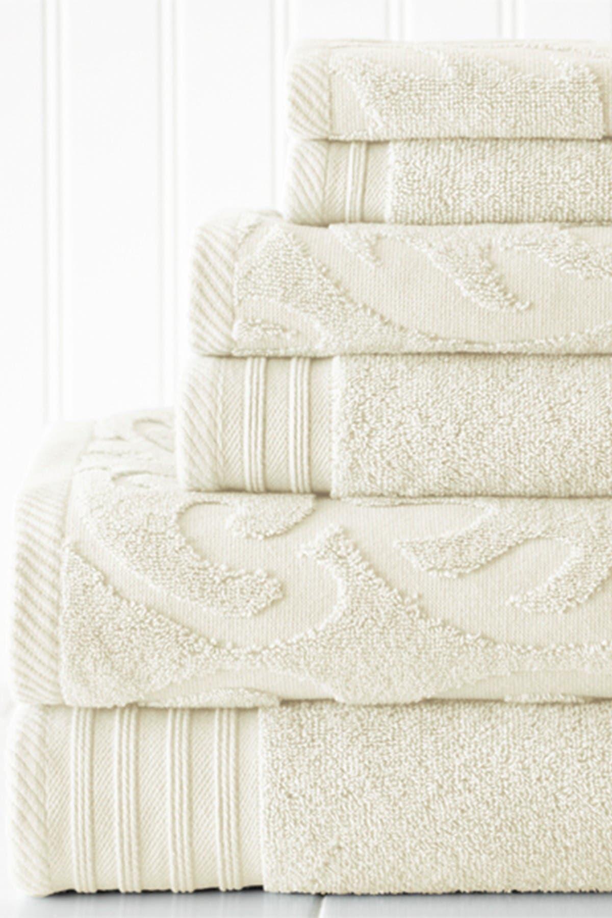 Image of Modern Threads Jacquard Medallion Swirl Solid 6-Piece Towel Set - Ivory