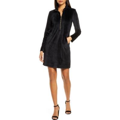 Lilly Pulitzer Skipper Ruffle Long Sleeve Stretch Velvet Shift Dress, Black