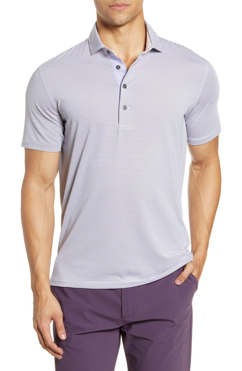 GREYSON Saranac Stripe Performance Polo, Main, color, ARCTIC/ SHADOW