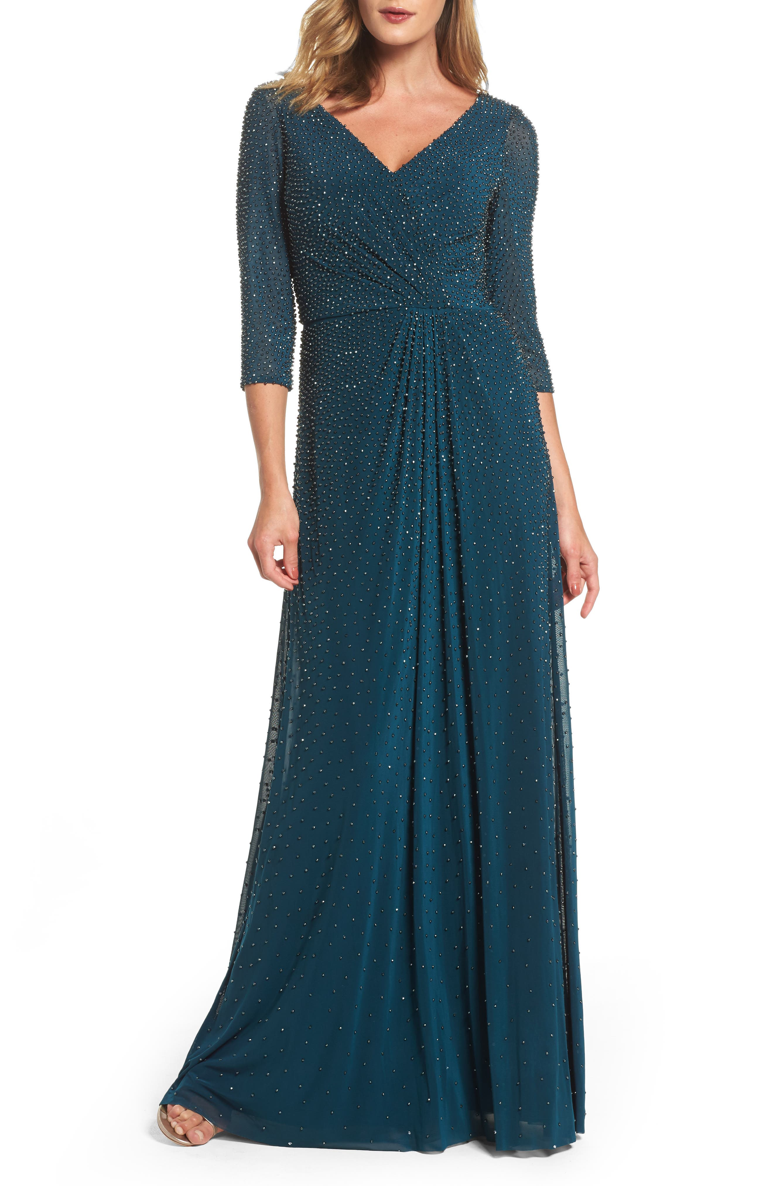 La Femme Beaded Twist Knot Waist Gown, Blue