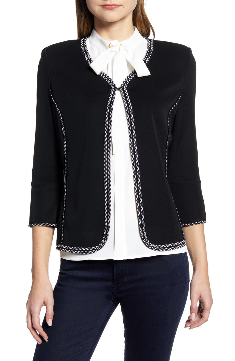 MING WANG Braided Trim Knit Jacket, Main, color, BLACK/ WHITE