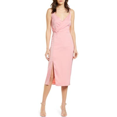 Cupcakes And Cashmere Aquila Faux Wrap Slipdress, Pink