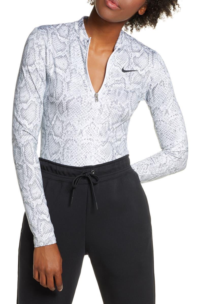 NIKE Python Print Long Sleeve Bodysuit, Main, color, 100