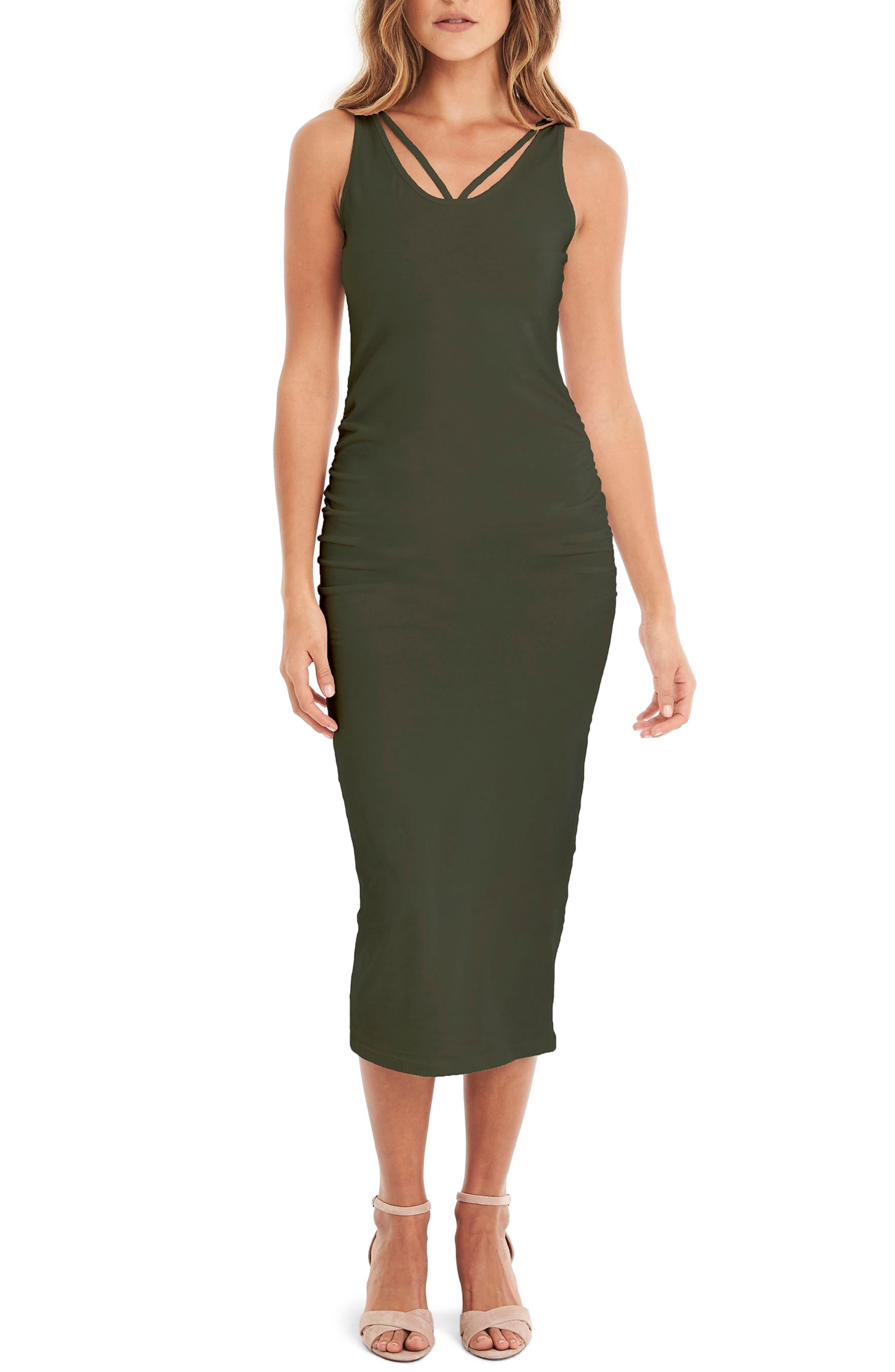 Michael Stars Reversible Stretch Cotton Midi Dress, Green