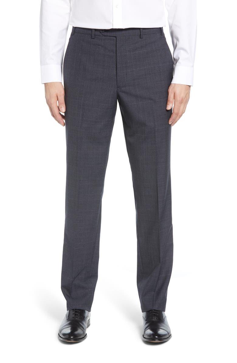 JOHN W. NORDSTROM<SUP>®</SUP> Flat Front Plaid Wool Dress Pants, Main, color, GREY EBONY BLACK HERRINGBONE