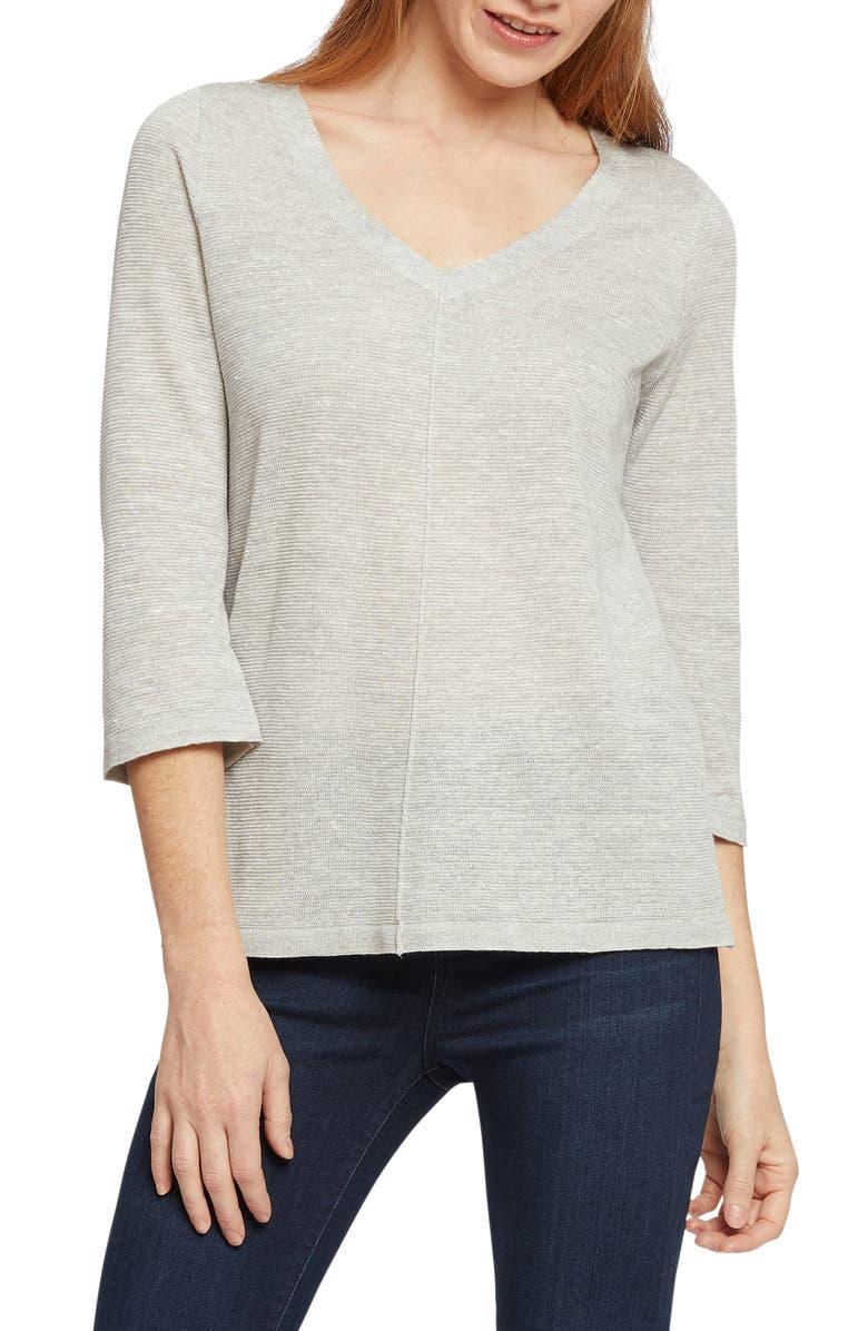 NIC+ZOE Tie Back Linen Blend Knit Top, Main, color, 070