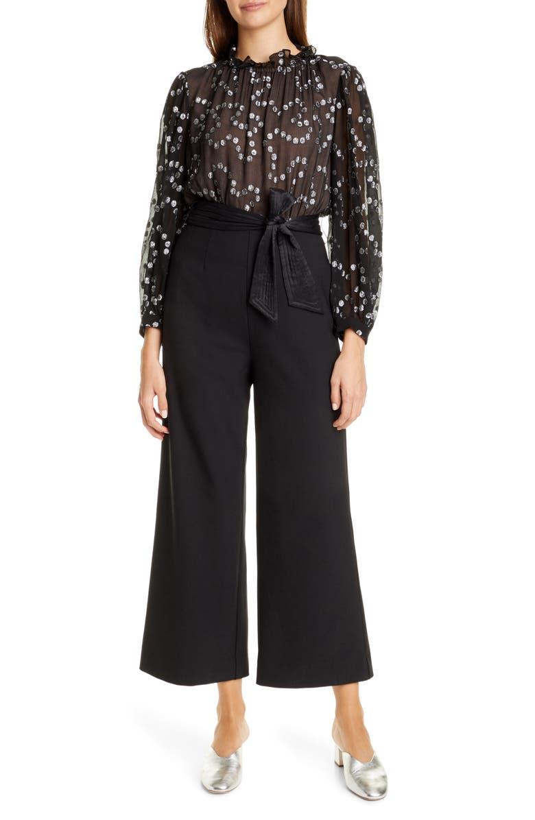 REBECCA TAYLOR Nuage Metallic Dot Mix Media Silk & Wool Blend Jumpsuit, Main, color, BLACK/ GUNMETAL