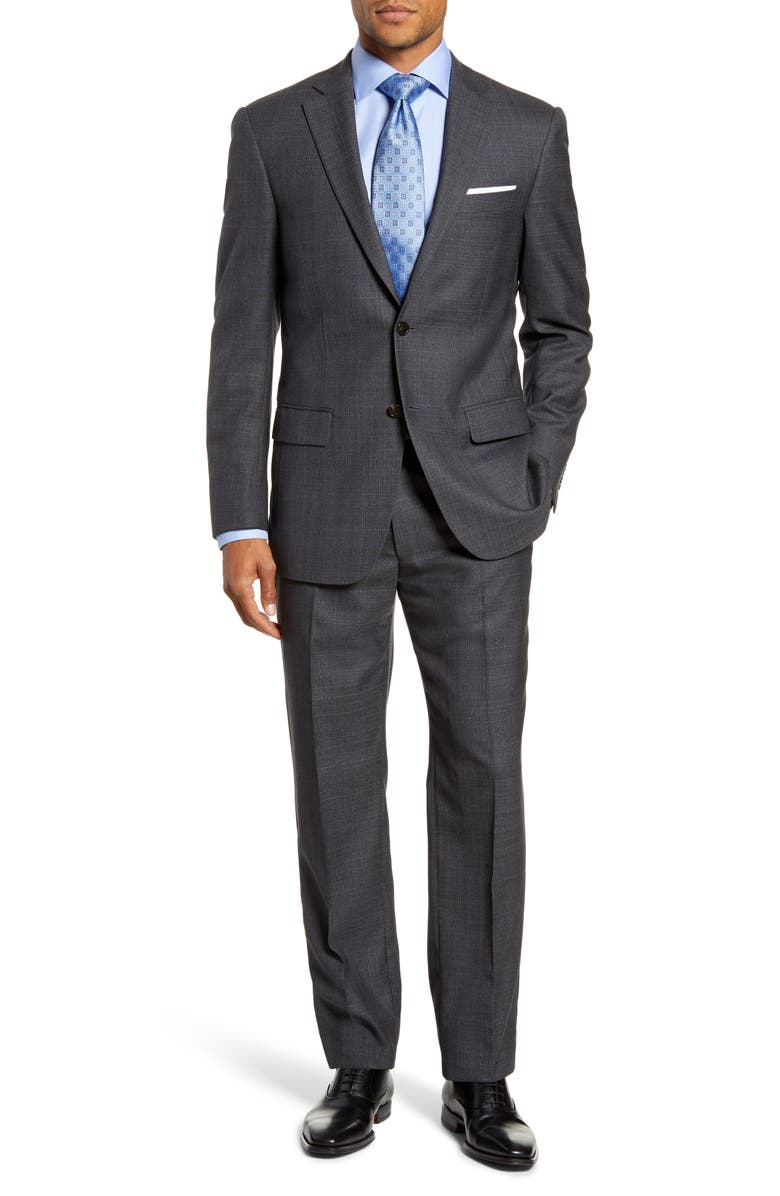 HART SCHAFFNER MARX Classic Fit Plaid Wool Suit, Main, color, MEDIUM GREY