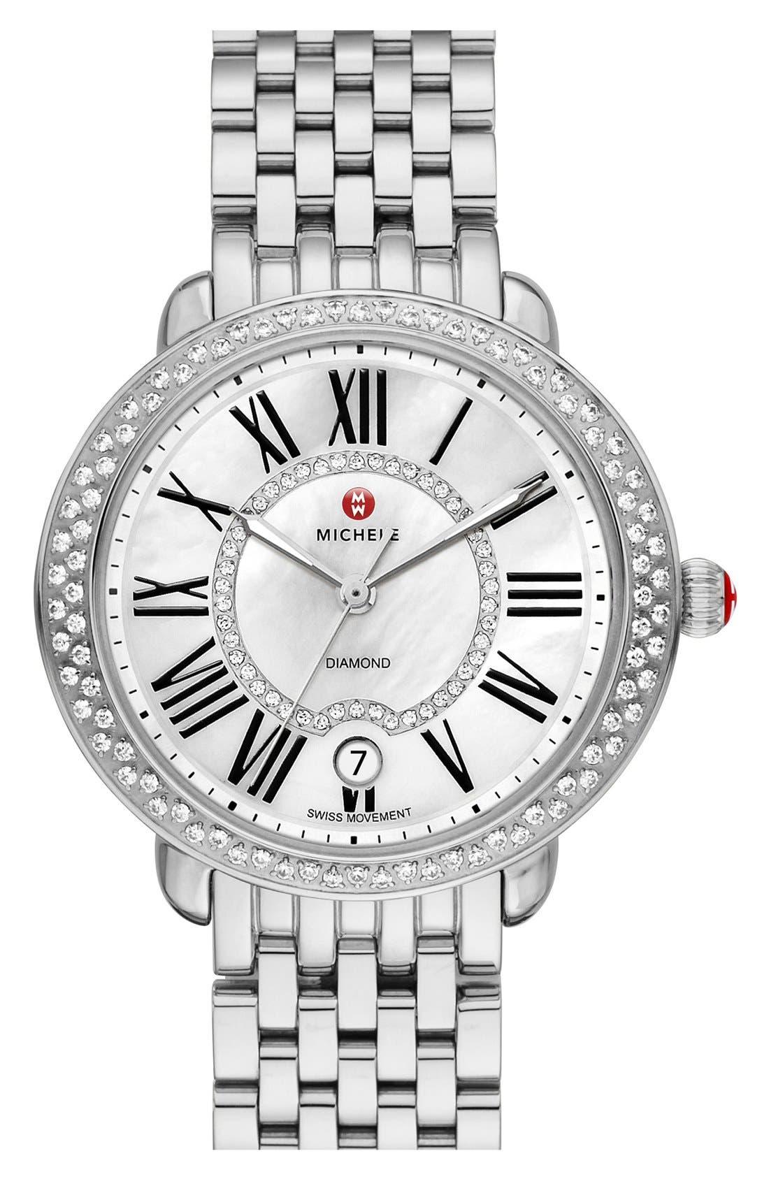 ,                             Serein 16 Diamond Watch Case, 34mm x 36mm,                             Alternate thumbnail 4, color,                             SILVER/ WHITE