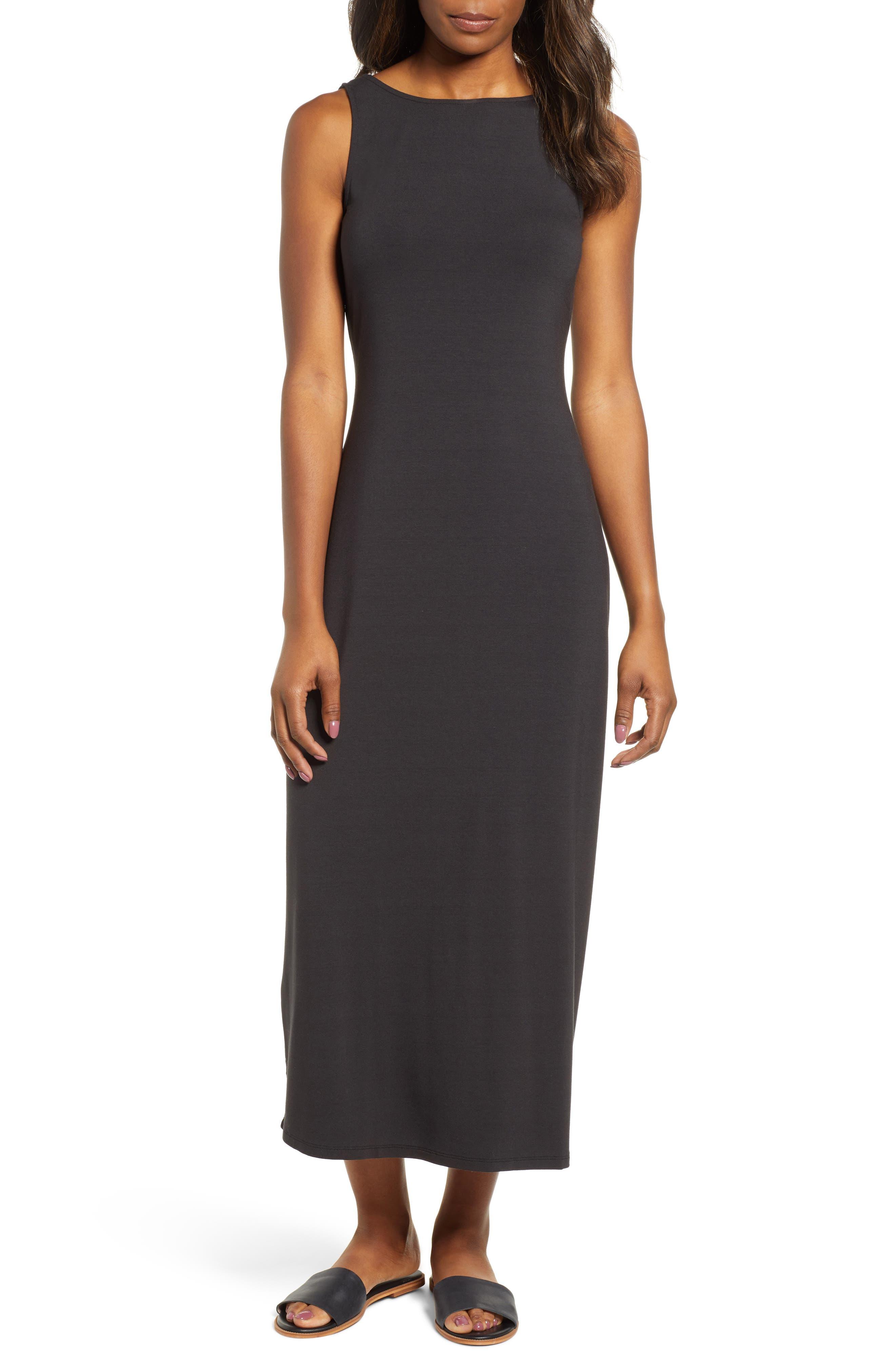 Tambour Midi Dress, Main, color, BLACK