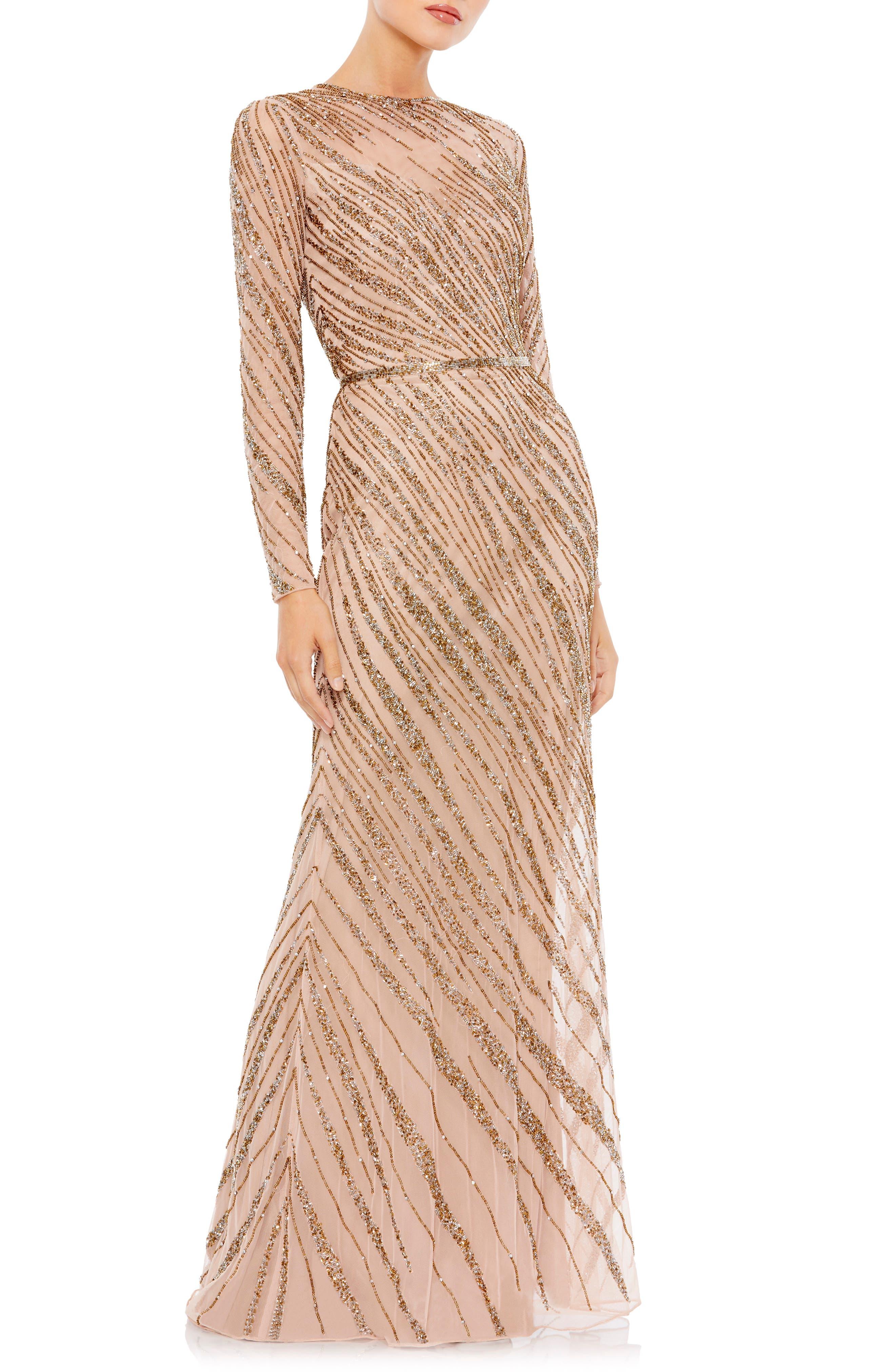 70s Sequin Dresses, Disco Dresses Womens MAC Duggal Beaded Long Sleeve Column Gown Size 18 - Brown $448.50 AT vintagedancer.com