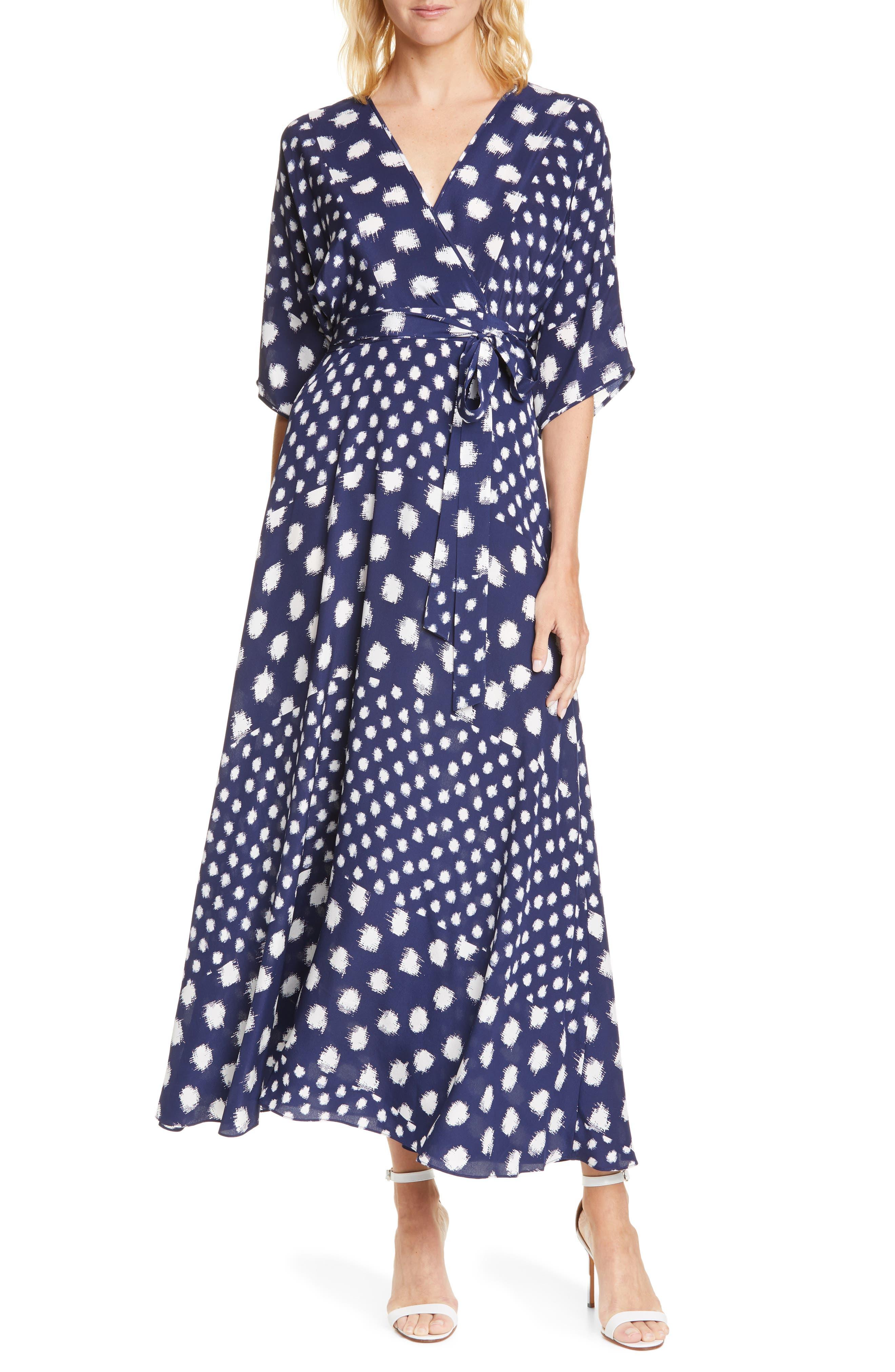 Dvf Eloise Silk Wrap Maxi Dress, Blue
