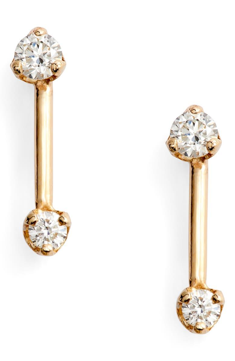 ZOË CHICCO Barbell Diamond Stud Earrings, Main, color, GOLD/ DIAMOND
