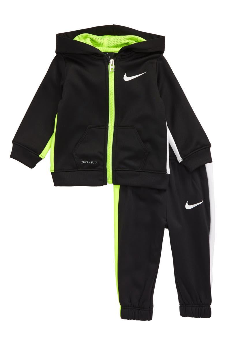 NIKE Therma Asymmetrical Color Block Dri-FIT Fleece Zip Hoodie & Pants Set, Main, color, 019