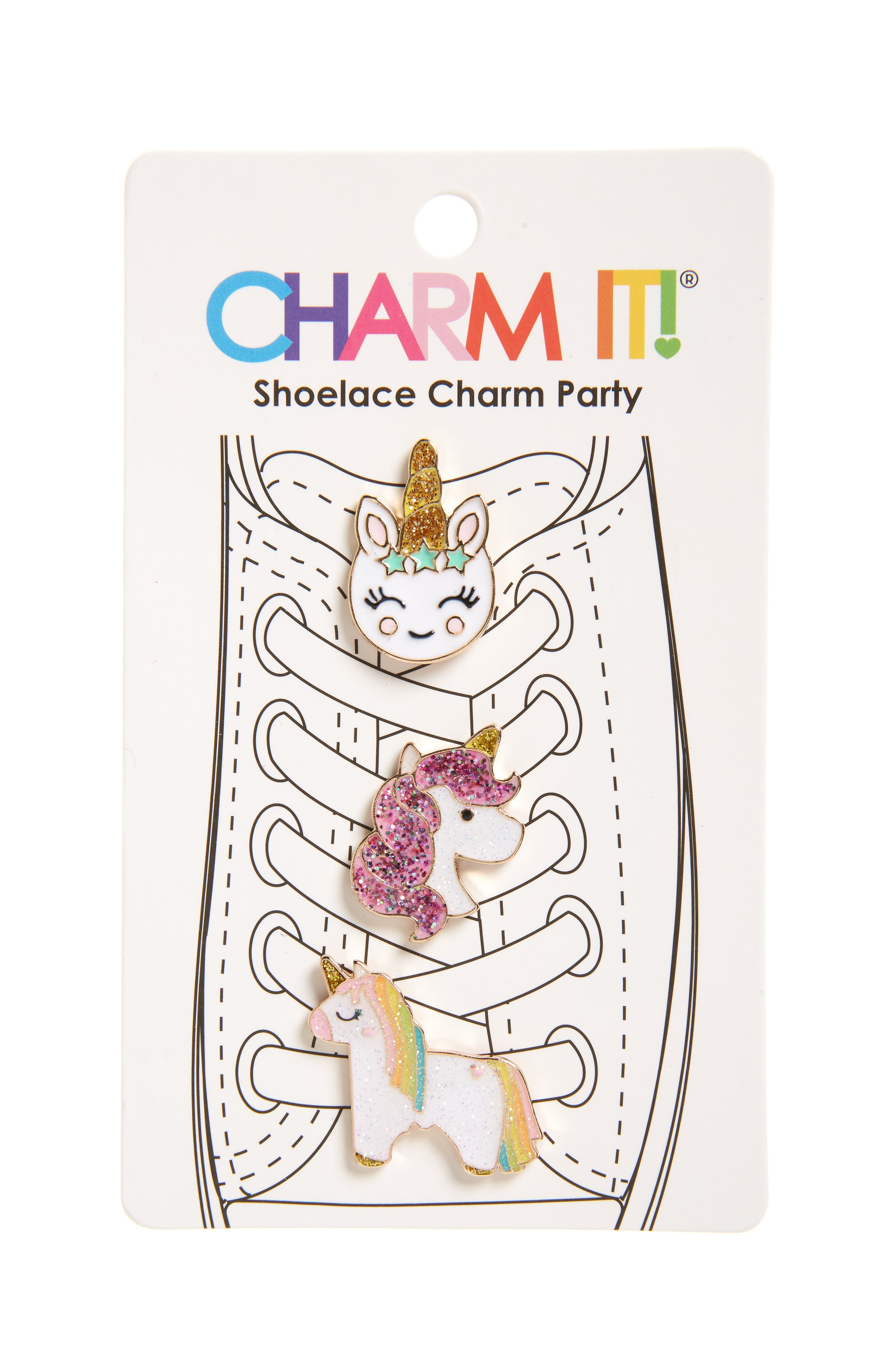 Girls Charm It 3Pack Glitter Unicorn Shoelace Charms