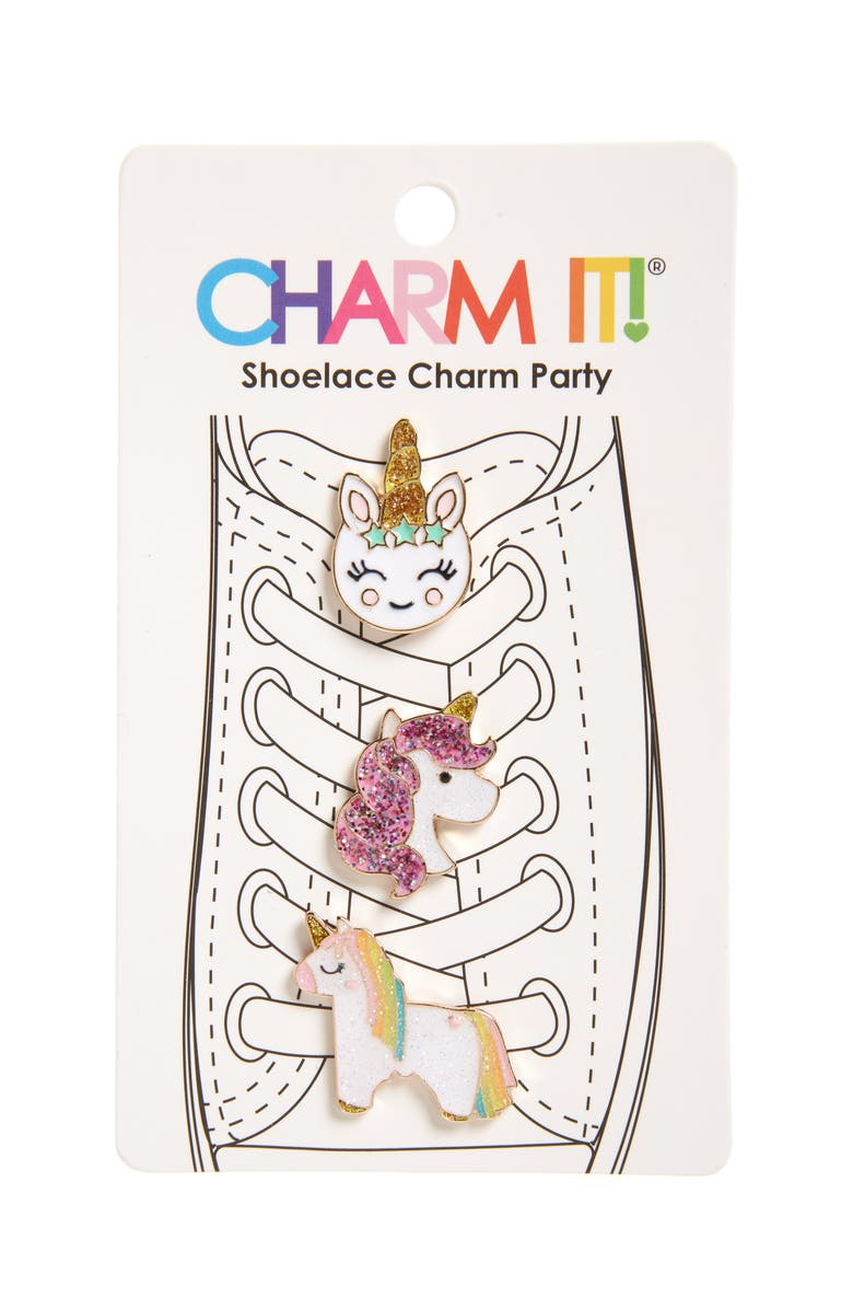 CHARM IT!<SUP>®</SUP> 3-Pack Glitter Unicorn Shoelace Charms, Main, color, 040