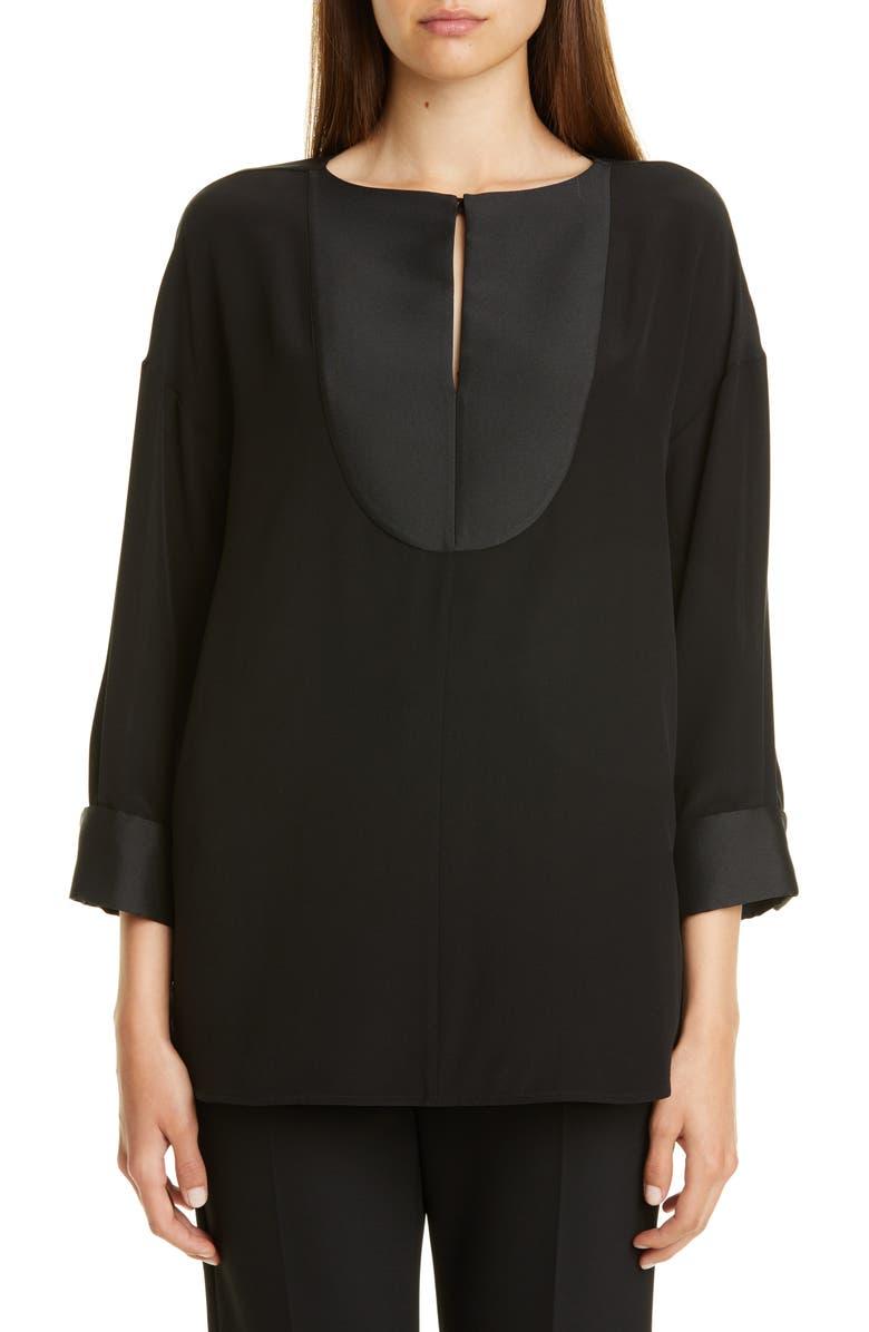 EMPORIO ARMANI Bib Front Silk Blouse, Main, color, BLACK