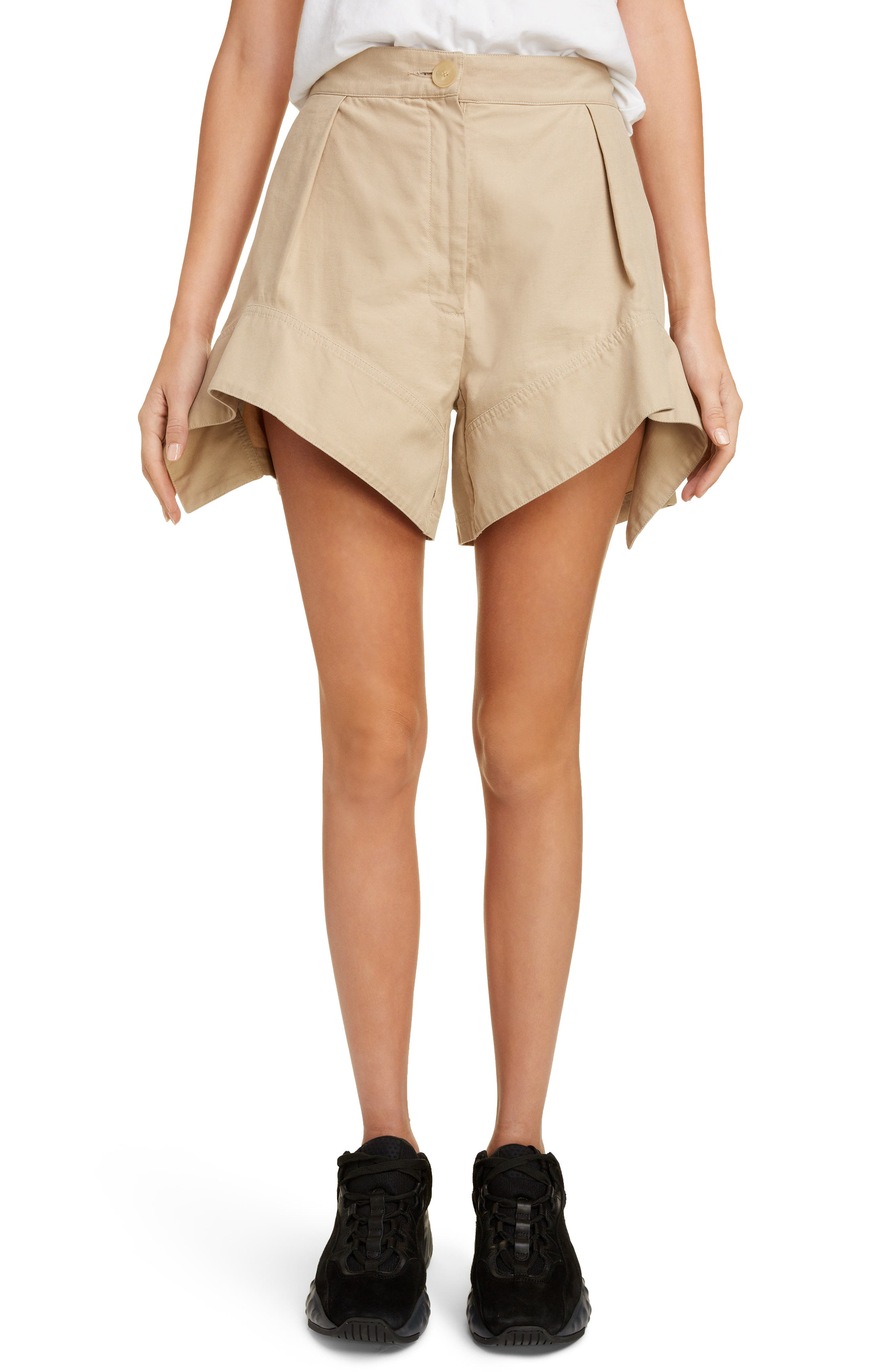 Curved Hem Chino Shorts, Main, color, FLAX