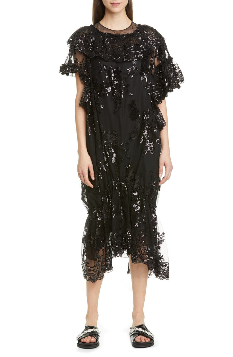 SIMONE ROCHA Sequin Ruffle Hem Midi Dress, Main, color, BLACK