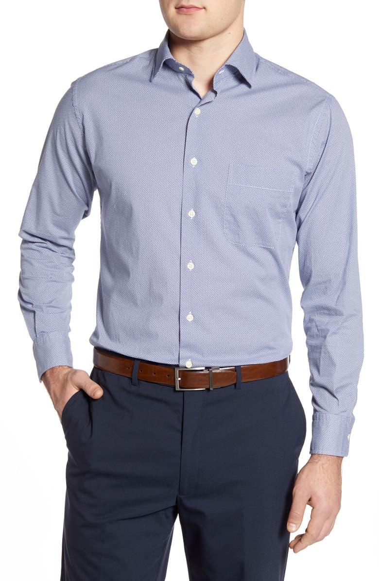 PETER MILLAR Chevron Brick Regular Fit Button-Up Shirt, Main, color, NAVY