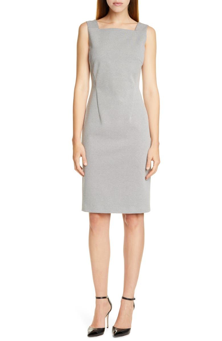 BOSS Davenara Square Neck Cotton Blend Sheath Dress, Main, color, VANILLA LIGHT FANTASY