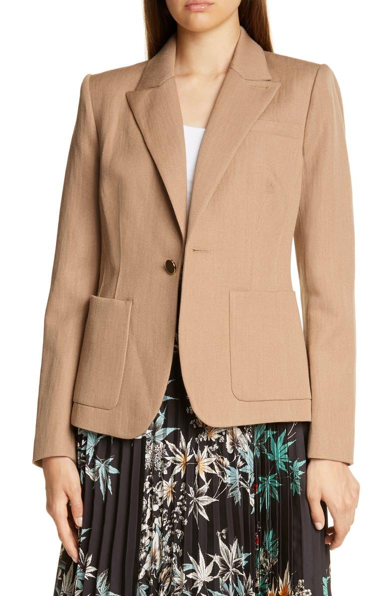 JUDITH & CHARLES Vernazza Single Button Blazer, Main, color, CAMEL