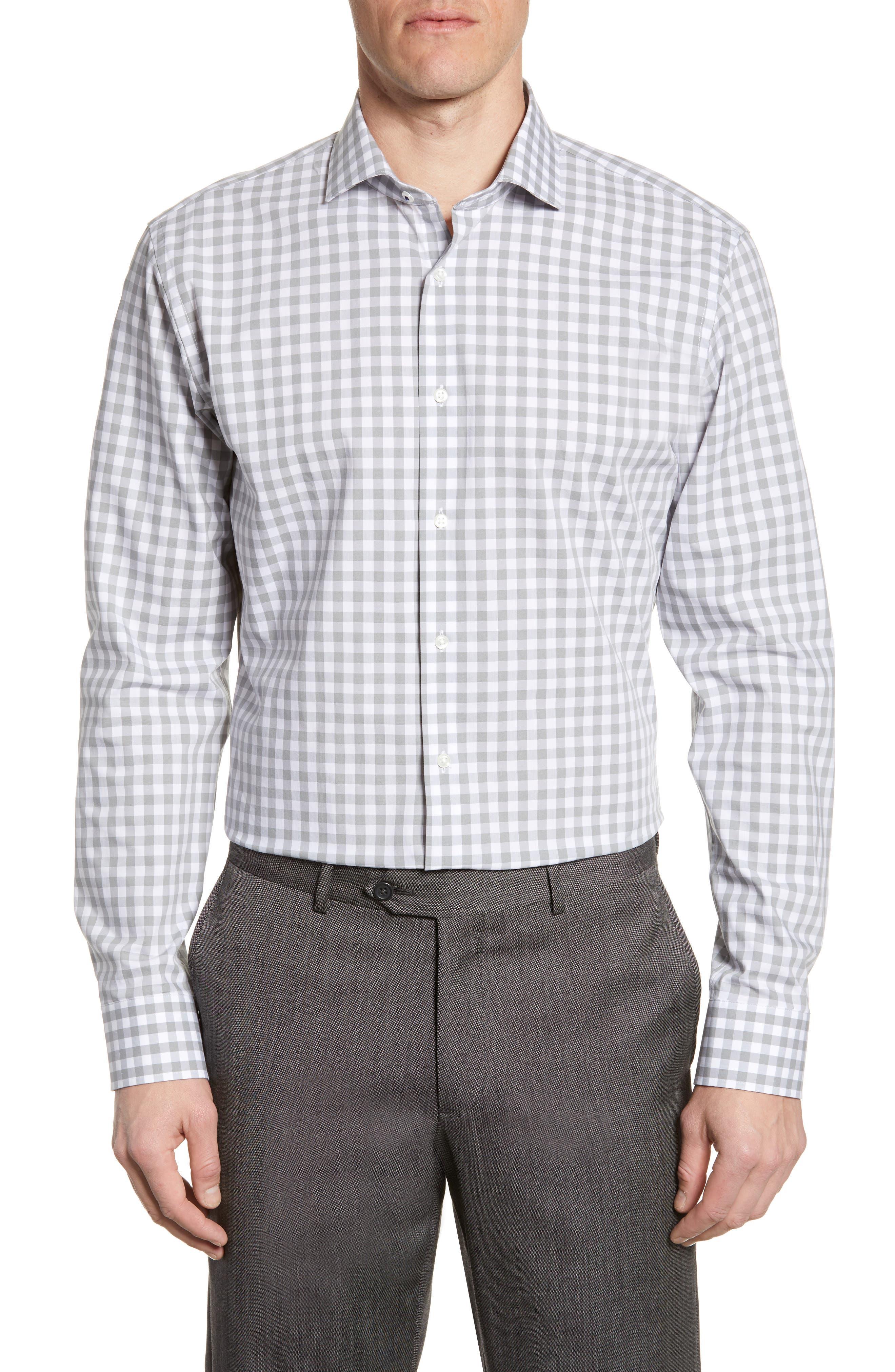 ,                             Tech-Smart Trim Fit Stretch Check Dress Shirt,                             Main thumbnail 7, color,                             050