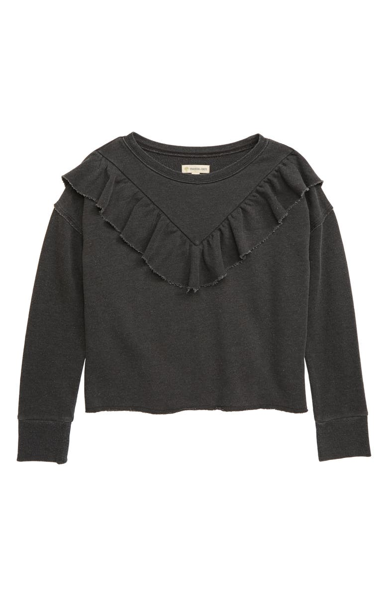 TUCKER + TATE Ruffle Sweatshirt, Main, color, BLACK RAVEN