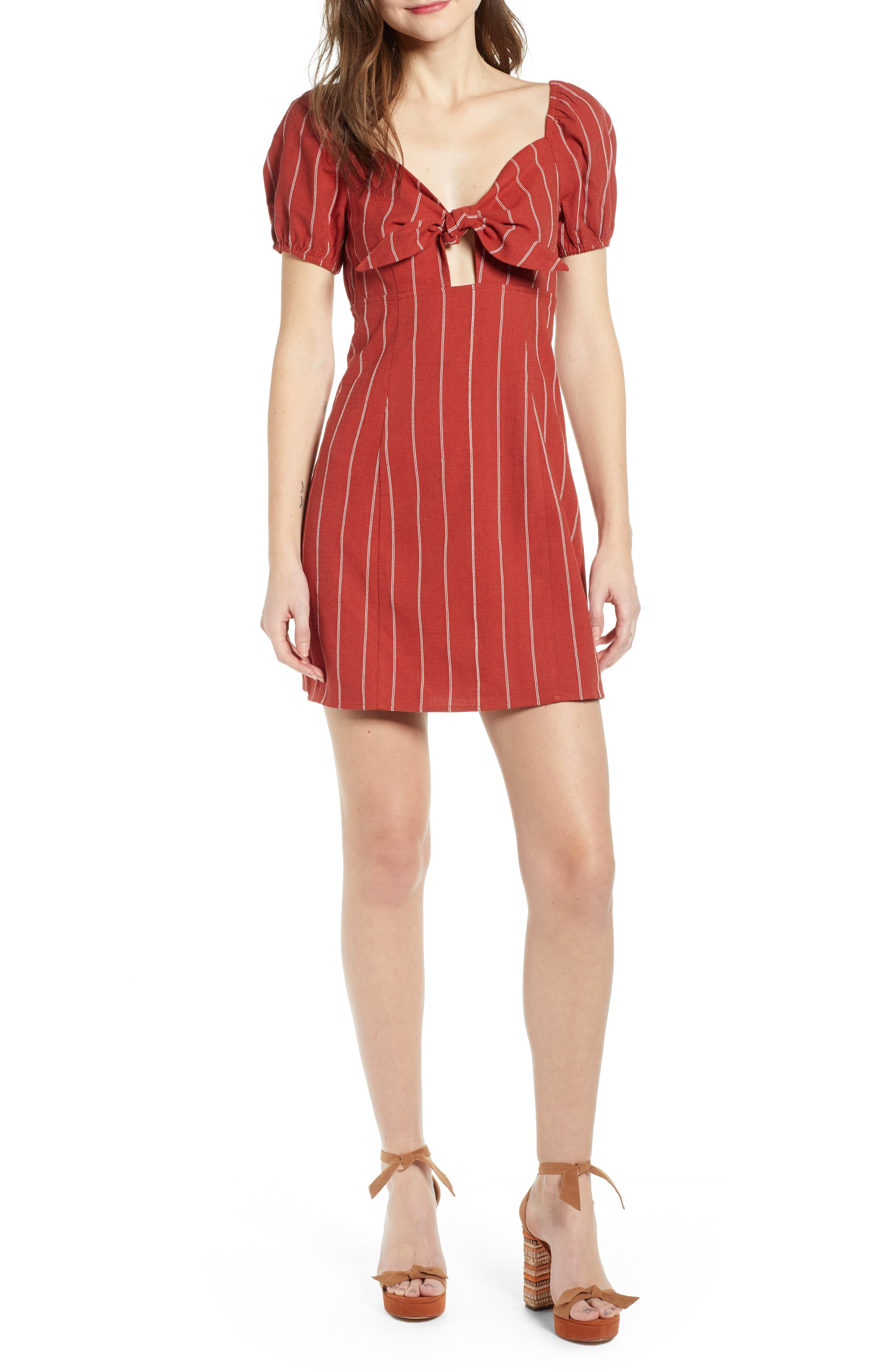J.o.a. Stripe Tie Front Cotton & Linen Mini Dress, Red