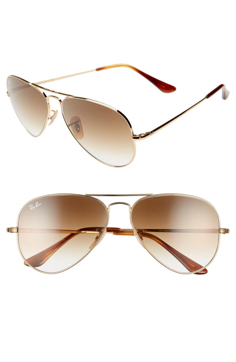 RAY-BAN 58mm Aviator Sunglasses, Main, color, GOLD/ BROWN GRADIENT